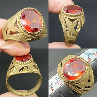 Wonderful old antique bronze ring with beautiful red glass stone