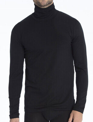 Mens Jersey - Cotton Black Roll Neck Polo Turtleneck Ski Golf Winter Top