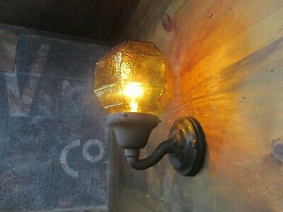 Antique CLASSIC Cast Iron Outdoor Wall Sconce Amber Glass Globe Light Shade