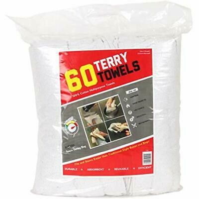 Cleaning Cloths Terry Towels Grade Rags 60 Pack (14X17 In, White) Health &amp
