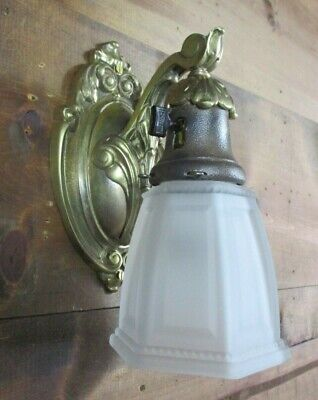 Early Antique HEAVY Brass Bell Wall Sconce - Art Deco Nouveau Chic Rewired CMR10