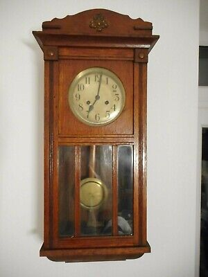 Vintage Oak Cased Vienna Chiming Pendulum Wall Clock