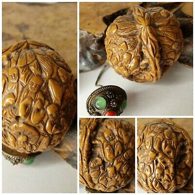 Antique Chinese Fined Carved Walnut Shell Snuff Bottle Happy 18  Luohans Elders