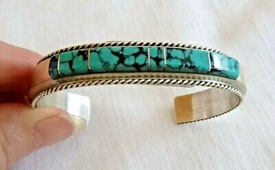 NEW Navajo France Yazzie Turquoise Inlay Bracelet Cuff Sterling Silver Gift