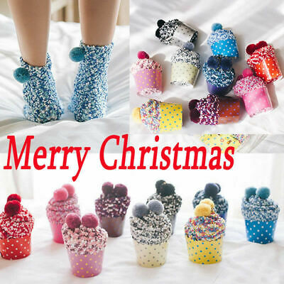 Womens Girls Soft Fluffy Cotton Ankle Soft Socks Winter Warmer Pompom Xmas Gifts