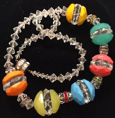 Vintage Art Deco Jewellery Spectacular Large Coloured Glass Bead Necklace