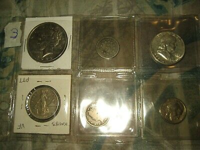 (1) SILVER DOLLAR  Peace + Shield Nickel + More   COIN  LOT # 5