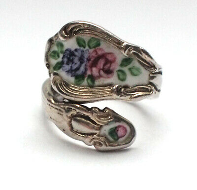 Stunning 925 Sterling Silver Antique Hand Painted Enamel Spoon Ring 4.5 J 8g