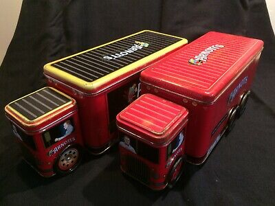 Retro Collectable Arnott's Red Truck Biscuit Tins With Wheels 2 tins