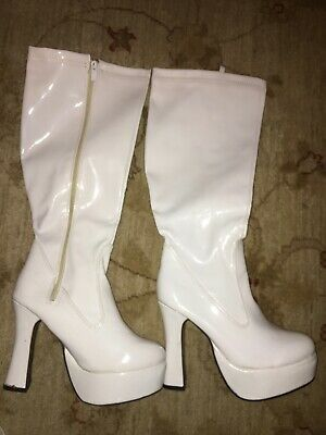 White Patent Platform Boots  - 70'S / Abba / Party - Size Uk 7 Eur 40
