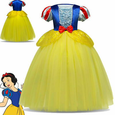 Girls Kids Snow White Cinderella Fancy Dress Princess Party Costume Gown Age4-10