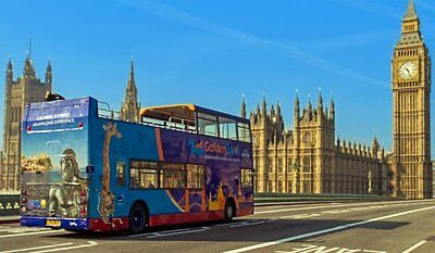 2 x ADULT 48 HOUR TICKET GOLDEN TOURS LONDON HOP ON - OFF BUS TOUR & BOAT