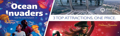 2 x ADULT + 3 x CHILD Tickets London Top 3 Attractions RRP £89 => You pay £38/48