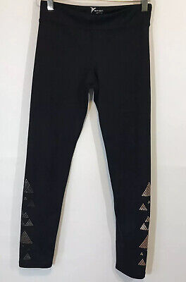 Old Navy Active Girls Pants Leggings Black Gold Reflective Geometric L 10/12