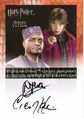 Harry Potter Heroes & Villains DUAL AUTOGRAPH Tonks & Shacklebolt Tena & Harris