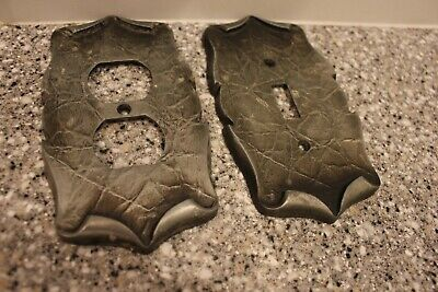 2 Vintage Silver/Pewter Carriage House 1 Outlet & 1 Wall Switch Covers Free Shp