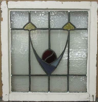 "OLD ENGLISH LEADED STAINED GLASS WINDOW Pretty Abstract Design 20"" x 21"""