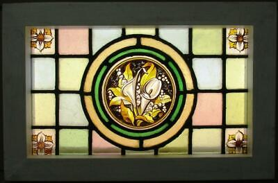 "VICTORIAN ENGLISH LEAD STAINED GLASS WINDOW Hand Painted Calla Lilies 17"" x 11"""