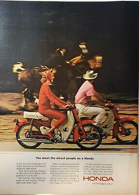 Lot of 3 Vintage 1964 Honda Motorcycle Ads Fashions by Capriotti