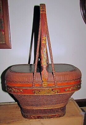 antique chinese basket hand painted carved bats flowers &+ signed