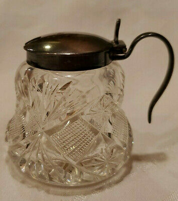 Antique Wilcox Cut Glass Creamer Sterling Silver