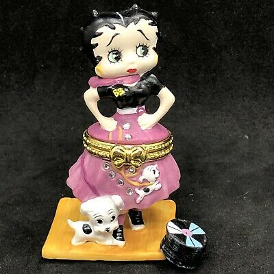BETTY BOOP Hinged Trinket Box Poodle Skirt Pink 50's Porcelain Willabee & Ward
