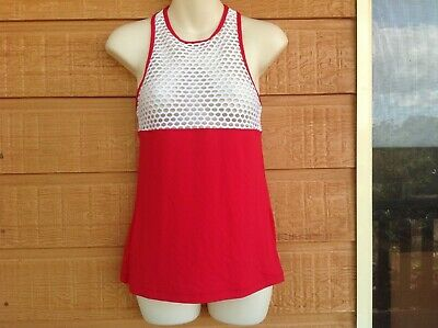 LORNA JANE - red and white  breathable singlet - small - fitting