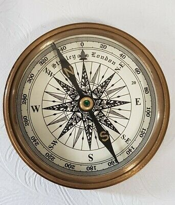 """Stanley London Compass 3"""" Working Replica Antique Finish Solid Brass Brand New"""