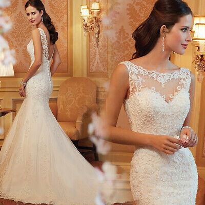 Wedding Dresses Backless Embroidery Lace Mermaid Wedding Dress 2019 Bridal Gown