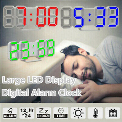 3D LED Digital Clock Table Wall Clock Electronic Alarm Display Dimmer Modern UK