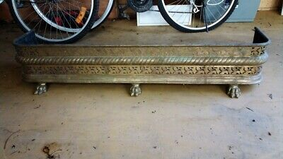 Antique Cast Iron Victorian Fireplace Fender Hearth Fire Surround Guard Lion Paw