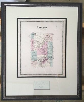 Map from Beers Atlas 1874 Addison NY Steuben County NY Professionally Framed
