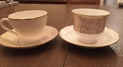 Set Of 2 Bone China/Queen Anne/ Spode/ Tea & Saucers/Made In England. No Chips
