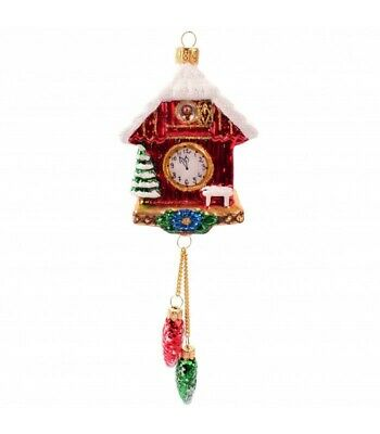 House Cuckoo Clock with Pine cones Christmas Ornament Bauble Tree Decoration