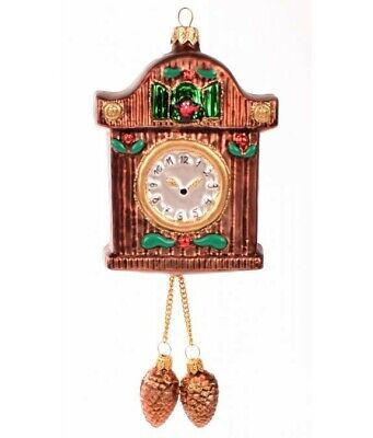 Novelty Cuckoo Clock with Pine cones Christmas Ornament Bauble Tree Decoration