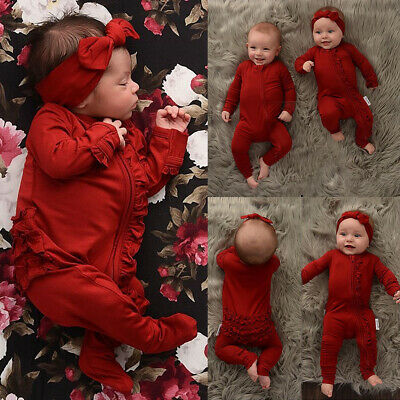 Newborn Baby Boy Girl Xmas Clothes Ruffle Romper Solid Jumpsuit Bodysuit Outfits
