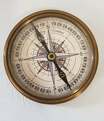 "Henry Hughes Compass 3"" Working Replica Antique Finish Solid Brass Brand New"