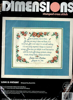 REDUCED!! Wedding Sampler PRINTED Large Cross Stitch Kit Love is Patient