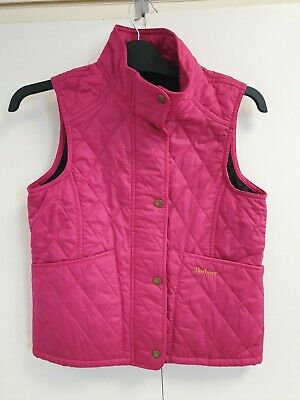 Ff631 Girls Barbour Summer Liddesdale Pink Diamond Quilted Gilet Age 10-11 Years