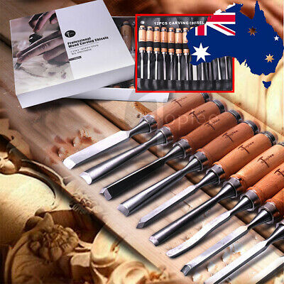 12Pcs Chisels, Punches & Files - Gouge Chisel Set Woodworking Woodturning Tool