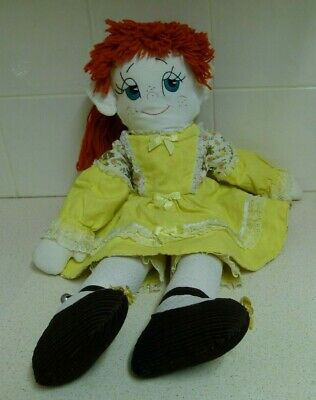 Rag Doll W Red Hair & Yellow Dress & Pantaloons - Embroidered Face - Homemade