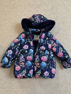 M&S Marks Spencer Girls Floral Padded Puffa Fur Trim Hooded Coat Age 5-6 Years