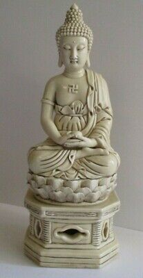 Antique Vintage Large Ceramic Porcelain Sculpture Seated Old Buddha Icon Chinese