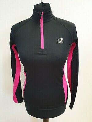 Ff675 Womens Run Karrimor Black Pink Lightweight 1/4 Zip Base Layer Top Uk 6