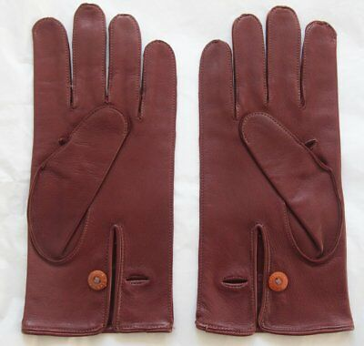 Pair Vintage English Make Leather Gloves w/ Button Fastening Approx 9.5