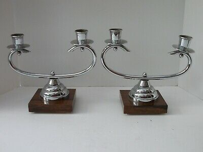 Pair of French Art Deco Chrome Candlesticks