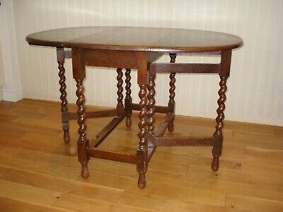 Solid oak barley twist gateleg drop leaf oval dining table, 1920's, vintage
