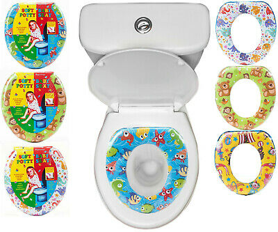 Kids Toilet Seat Baby Potty Training Soft Padded With Handles Pattern Design