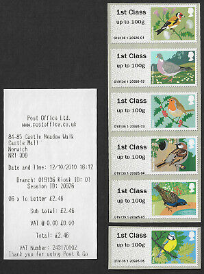 2010 Birds of Britain I Post and Go First Class stamps x 6 with receipt SG FS6