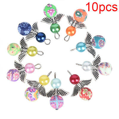 10Pcs Mixed Polymer Clay Dancing Angel Wings Charms Pendant DIY Jewelry FindingW